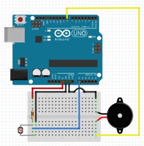 Wiring buzzer + LDR