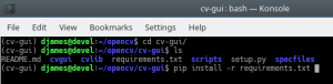requirements | GUI para OpenCV