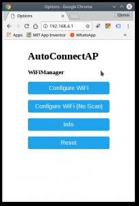 Tela inicial | WiFi manager com ESP8266