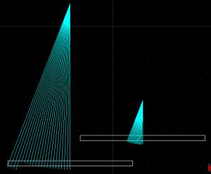 Mira eletrônica - eixo Z longo, abertura entre ângulo maior