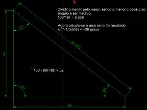 Mira eletrônica - descobrir ângulos do triângulo retângulo