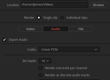 converter vídeo para o Da Vinci resolve -áudio