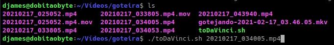 converter vídeo para o Da Vinci resolve - shell script