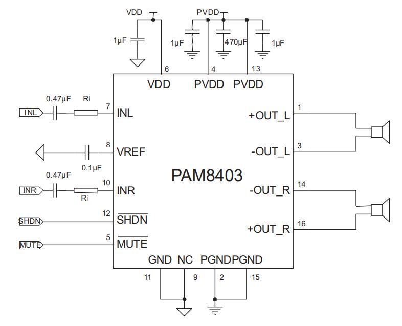 PAM8403 diagrama